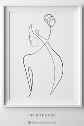Naked Abstract Body, Female Nude Drawing, One Line Body Art, Minimal Single Line Doodle Artwork, Printable Wall Art, Beauty Feminine Print