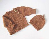 Handgestrickter Pullover und Mütze für Jungen, brauner …   – babykleidungx@kreditscoreblog.com