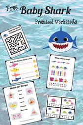 Baby Hai kostenlos druckbare Vorschulpackung – Ozean – #Baby #pressable #kos …   – Best Family Ideen
