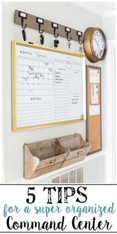 A junk-filled kitchen wall gets a drastic makeover with a simple command center …