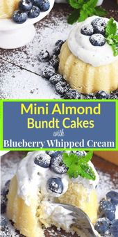 Mini Almond Bundt cakes with Fresh Blueberry Whipped Cream – Light and perfectly…