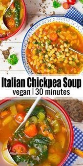 Esta sopa vegana italiana de tomate y garbanzos es uno de mis souvenirs veganos favoritos ...