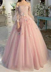 Schulterfreies Brautkleid mit langen Ärmeln Abendkleider Einzigartiges Abendkle