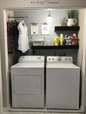Chic laundry room for small spaces ideas, #Chic #ideas #Laundry #laundryroomshelves #Room #s…