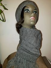 Woman's crochet gray messy bun hat and matching fringed scarf – Things to wear