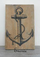 décoration murale, encre marine vintage sur planche de bois brute : Décoration…