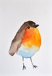 ORIGINAL watercolor – Cute Robin / watercolor illustration 6 x 8 cm