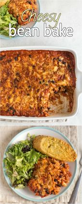 Cheesy Bean Bake – ein reichhaltiger Auflauf aus Tomatenbohnen und Reis mit viel Käse! T …