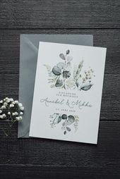 "40x Wedding Invitation ""Modern Botanical"" | Invitation card | Greenery |Eucalyptus |Boho Wedding |Green Wedding | Industrial chic"