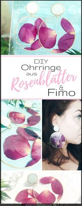 Make earrings from polymer clay and dried rose petals yourself