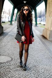 Zara Mini Dress zara red mini dress minikleid 70ies 70er rot schwarz biker jacket bikerjacke tights gepunktete strumpfhose falke classy preppy look be...