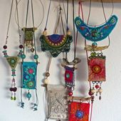 This beautiful bohemian jewelry is crocheted and embroidered and has a ga …