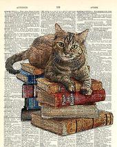 Katze auf Buchstapel. Kitty Classics Print sieht aus wie eine Tuschezeichnung mit Farbe. Kuns…