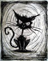 """Drucken Sie 8 x 10 """"- schwarze Katze – Halloween Katzen Stray Spooky Alley dunkle Kunst Haustiere niedlichen Tier gruselig gotische Kunst schwarz / weiß Kitty"""