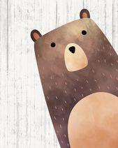 Woodland Nursery Wall Art – Bear Print – Woodland Nursery – Printable Art
