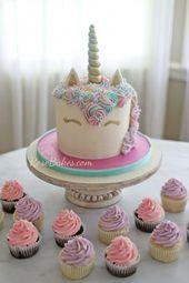 Pastel de unicornio con pastelitos rosas y púrpuras #unicornio # pastel # cupcakes # fiesta # parto …   – unicorn cake recipes