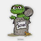 Oscar The Grouch Scram Sticker Zazzle Com In 2021 Oscar The Grouch Grouch Disney Sticker