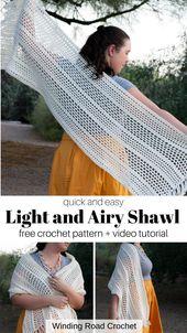 Quick and Easy Crochet Boho Shawl Free Pattern – Winding Road Crochet