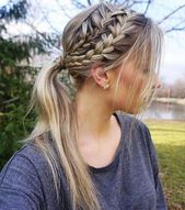 Two+Braid+And+Pony+Messy+Hairstyle #StepByStepHairstyleTutorials #twoBraided - two Braided - #Braided #StepByStepHairstyleTutorials
