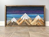 Mountain wood wall art / decor – 48×24 inches
