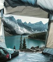 Beautiful mountain lake campsite