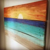 Beach House Decor – Sunset painting – rustic furniture