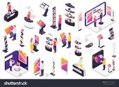 Modern Technology Exhibition Isometric Elements Set Stock Vector (Royalty Free) 1551432548