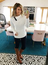 Fall Outfit // Casual Outfit // How to Style Riding Boots // Asymmetrical Pullov...