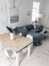 Living and dining room in Scandinavian look