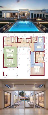 Luxus Bungalow Haus minimalistisch mit Flachdach Architektur & Grundriss in UFor…