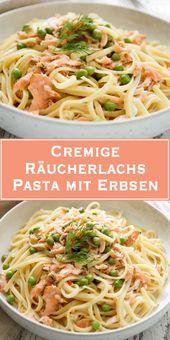 Cremige Räucherlachs Pasta mit Erbsen – Schnelle Küche: einfache Gerichte unter 35 Minuten
