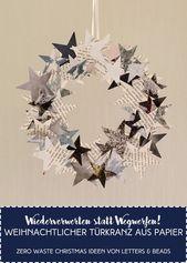 Weihnachtlicher Türkranz aus Papier – Zero Waste Christmas
