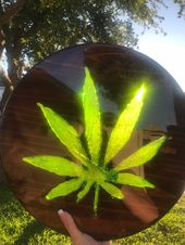 Excited to share this item from my #etsy shop: Marijuana Leaf Resin inlay Wood A…