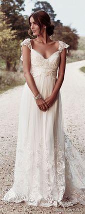 Boho Bohemian A Line Chiffon Wedding Dresses Cap Sleeve Lace Accents Big Bow Bri