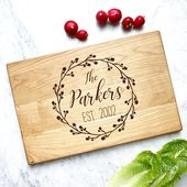 Personalized Cutting Board. Engraved wooden board with name and year. Custom board for Wedding Present, Anniversary Gift, Housewarming