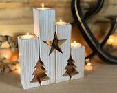 Weihnachtsbaum rustikale Kerze-Halter – Adventskalender-Kerze-Halter – Mantel Dekor Bauernhaus antike Tee Lichthalter Weihnachtskerzen