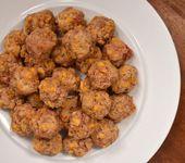 Pimento Cheese Sausage Balls- Keto omit Bisquick add one egg per 1lb sausage. Ad…