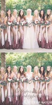 Mermaid Round Neck Long Ombre Sequined Bridesmaid Dresses, TYP1560 #bridesmaid #… – rose gold wedding