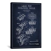 """iCanvas """""""" Toy Lego Navy Blue Patent Blueprint """""""" von Aged Pixel Canvas Wall Art, Multi   – Products"""