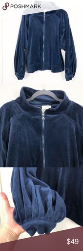 UP Silence + Noise Retro Navy Velour Zip Jacket L This is a navy velour or fuzzy… – My Posh Picks