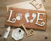 LOVE: Hand & Foot Print on wood. Perfect parent/grandparent gift for Valentines …
