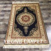Yilong 3.3'x5' Persian silk carpet Floral …