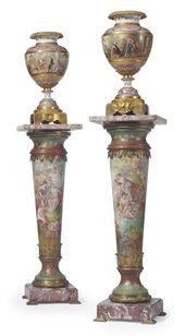 A PAIR OF ORMOLU AND MARBLE MOUNTED SEVRES STYLE P…