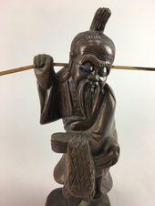 Vintage wood walnut carving of Asian Man