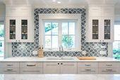 White and blue kitchen boasts white shaker cabinet…