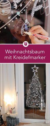 Arbre de Noël de fenêtre avec des marqueurs de craie   – Decoration