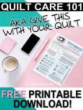 Waschen und Pflegen Ihres Quilt + Free Printable – Quilting patterns, tips and tutorials