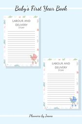 Baby's First Year Book| Baby's First Album| Memories| Baby Shower Gift| Printable – Downloadable Planners and Ebooks
