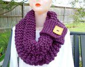Knit Cowl Chunky Scarf Infinity Shawl Snood by knittingbyreneau, $58.00
