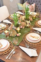 Green and Blush Pink Easter Table Setting